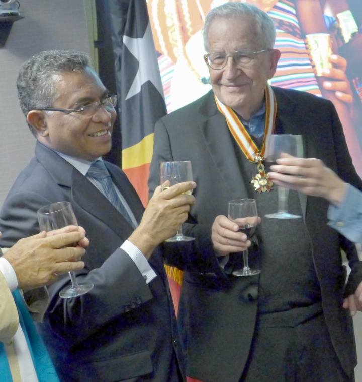 Noam Chomsky after receiving award from Timor-Leste PM Rui de Araujo.