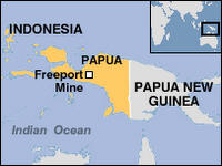 Map of West Papua with Freeport Mine