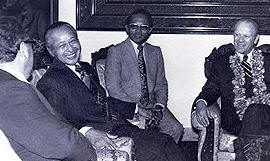 L-R Kissinger,  Suharto, unknown, Ford, Dec 6, 1975
